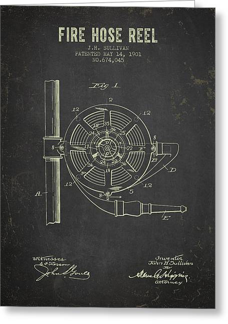 Reel Greeting Cards - 1901 Fire Hose Reel Patent- Dark Grunge Greeting Card by Aged Pixel