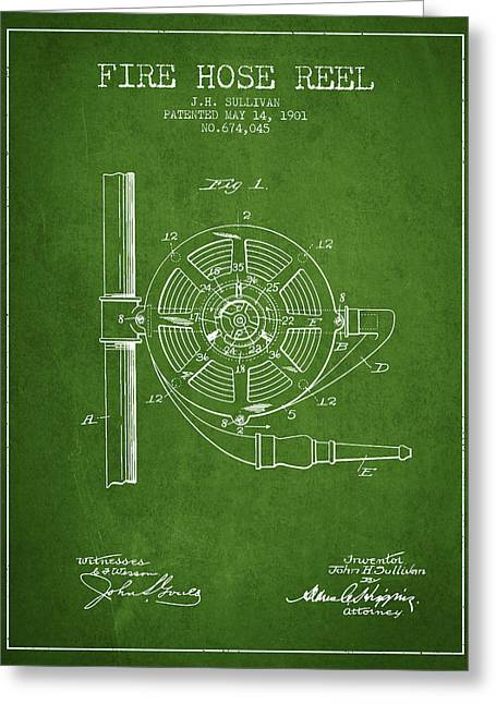 Fire Hose Greeting Cards - 1901 Fire Hose Reel Patent - green Greeting Card by Aged Pixel