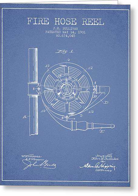Fire Hose Greeting Cards - 1901 Fire Hose Reel Patent - light blue Greeting Card by Aged Pixel