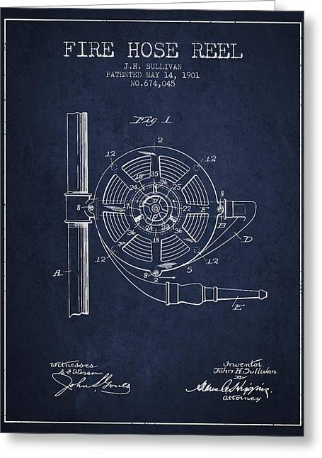 Fire Hose Greeting Cards - 1901 Fire Hose Reel Patent - navy blue Greeting Card by Aged Pixel