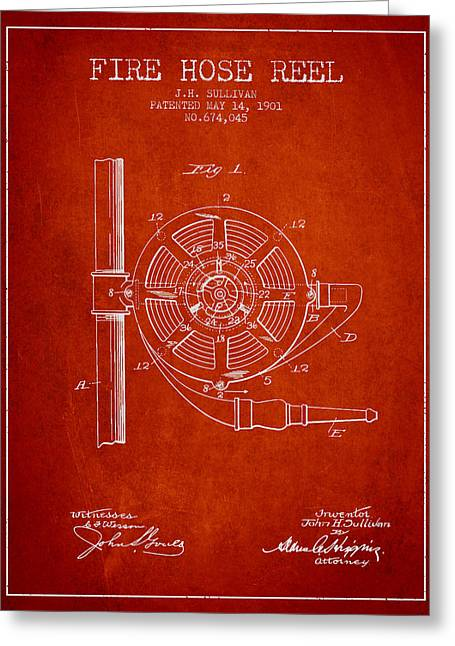 Fire Hose Greeting Cards - 1901 Fire Hose Reel Patent - red Greeting Card by Aged Pixel
