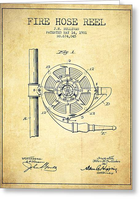 Hoses Greeting Cards - 1901 Fire Hose Reel Patent - vintage Greeting Card by Aged Pixel