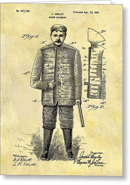 1901 Hunting Jacket Patent Greeting Card by Dan Sproul