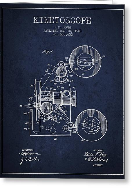Camera Greeting Cards - 1901 Kinetoscope Patent - navy blue Greeting Card by Aged Pixel