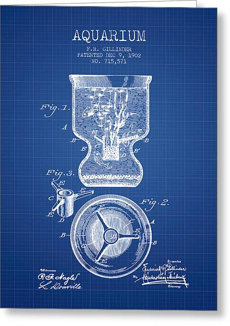 Fish Drawings Greeting Cards - 1902 Aquarium Patent - Blueprint Greeting Card by Aged Pixel