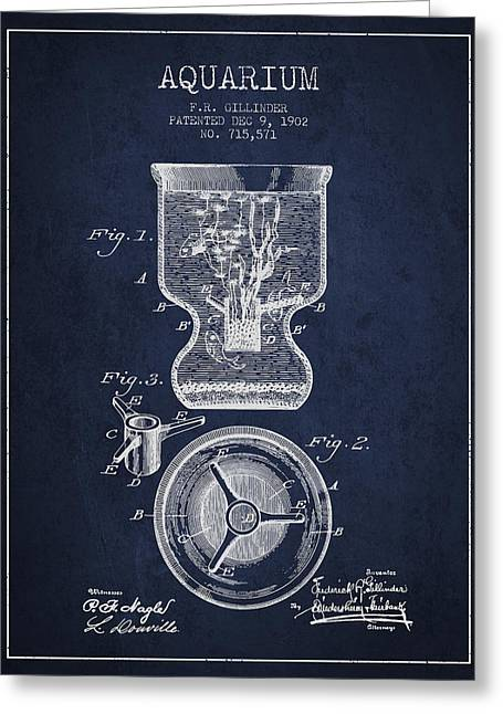 1902 Aquarium Patent - Navy Blue Greeting Card by Aged Pixel