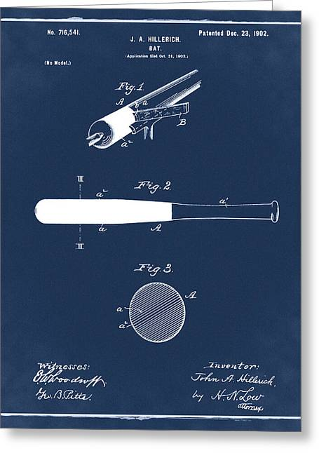 1902 Baseball Bat Patent In Blue Greeting Card by Bill Cannon