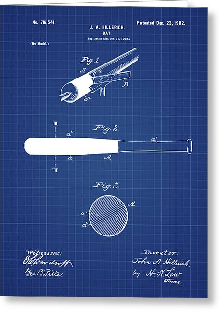 1902 Baseball Bat Patent In Blueprint Greeting Card by Bill Cannon