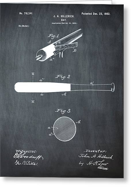 1902 Baseball Bat Patent In Chalk Greeting Card by Bill Cannon
