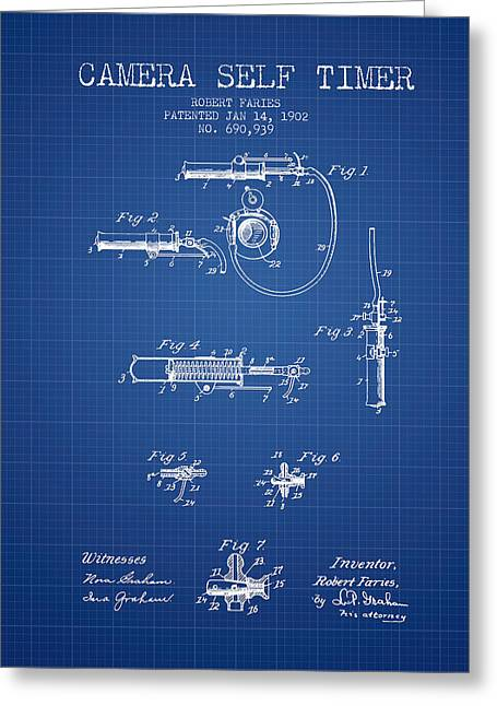 Camera Greeting Cards - 1902 Camera Self Time Patent - Blueprint Greeting Card by Aged Pixel