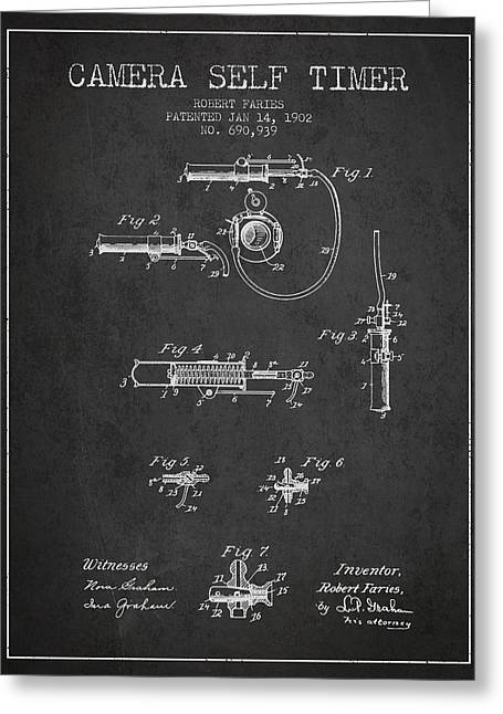 1902 Camera Self Timer Patent - Charcoal Greeting Card by Aged Pixel