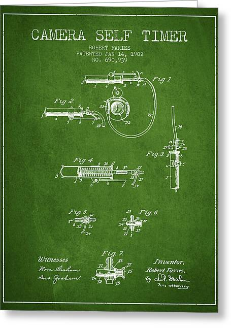 Decor Photography Drawings Greeting Cards - 1902 Camera Self Time Patent - Green Greeting Card by Aged Pixel