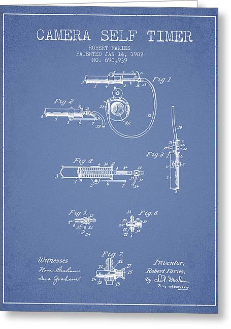 Decor Photography Drawings Greeting Cards - 1902 Camera Self Time Patent - Light Blue Greeting Card by Aged Pixel
