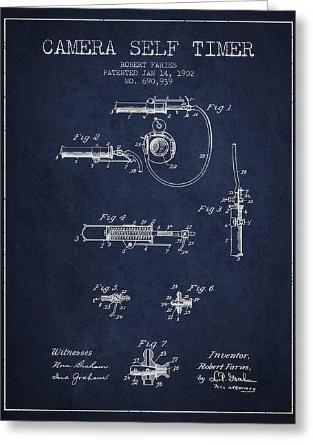Decor Photography Drawings Greeting Cards - 1902 Camera Self Timer Patent - Navy Blue Greeting Card by Aged Pixel