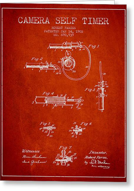 Camera Greeting Cards - 1902 Camera Self Timer Patent - Red Greeting Card by Aged Pixel
