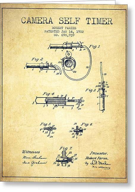 Decor Photography Drawings Greeting Cards - 1902 Camera Self Time Patent - Vintage Greeting Card by Aged Pixel
