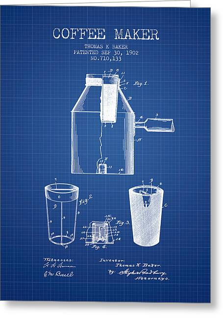 Pot Drawings Greeting Cards - 1902 Coffee maker patent - blueprint Greeting Card by Aged Pixel