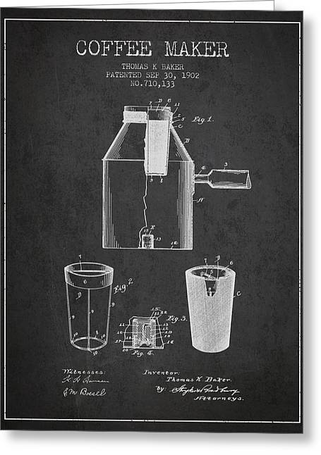 Pot Drawings Greeting Cards - 1902 Coffee maker patent - charcoal Greeting Card by Aged Pixel