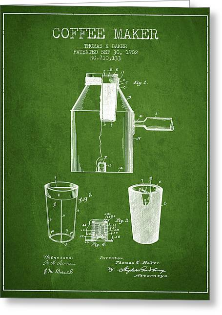Drawing Of Lovers Greeting Cards - 1902 Coffee maker patent - green Greeting Card by Aged Pixel