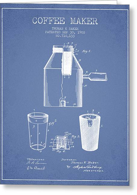 Pot Drawings Greeting Cards - 1902 Coffee maker patent - light blue Greeting Card by Aged Pixel