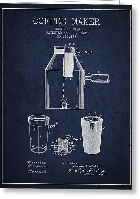 Pot Drawings Greeting Cards - 1902 Coffee maker patent - navy blue Greeting Card by Aged Pixel