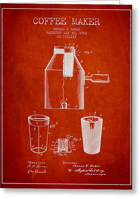 Pot Drawings Greeting Cards - 1902 Coffee maker patent - red Greeting Card by Aged Pixel