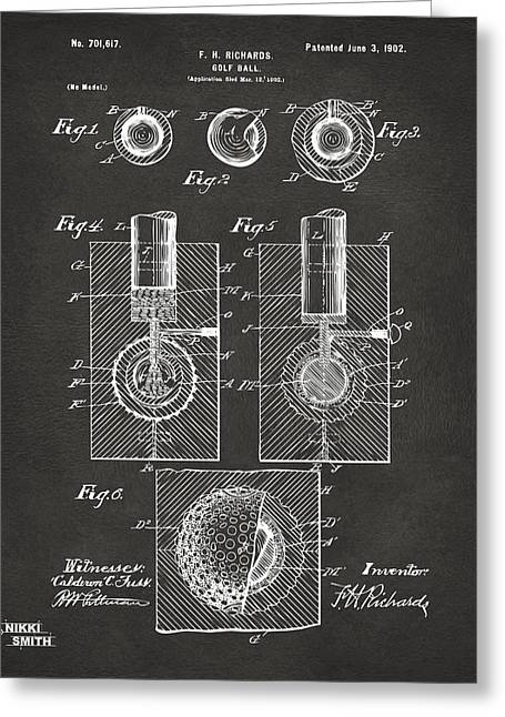 1902 Golf Ball Patent Artwork - Gray Greeting Card by Nikki Marie Smith