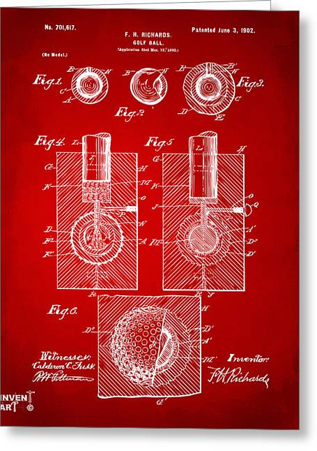 1902 Golf Ball Patent Artwork Red Greeting Card by Nikki Marie Smith