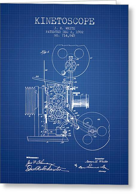 Old Camera Greeting Cards - 1902 Kinetoscope Patent - Blueprint Greeting Card by Aged Pixel