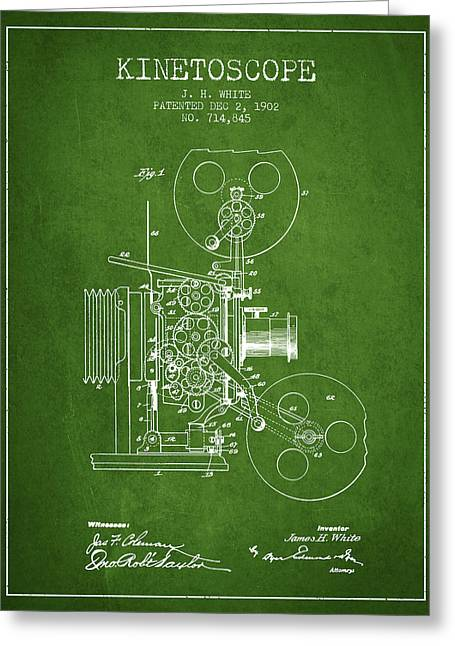 Old Camera Greeting Cards - 1902 Kinetoscope Patent - Green Greeting Card by Aged Pixel
