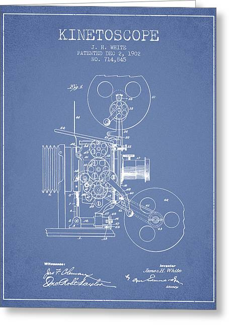 Old Camera Greeting Cards - 1902 Kinetoscope Patent - Light Blue Greeting Card by Aged Pixel