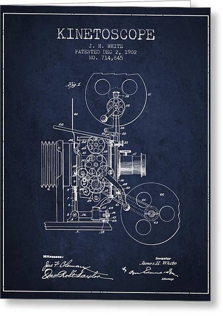 Old Camera Greeting Cards - 1902 Kinetoscope Patent - Navy Blue Greeting Card by Aged Pixel