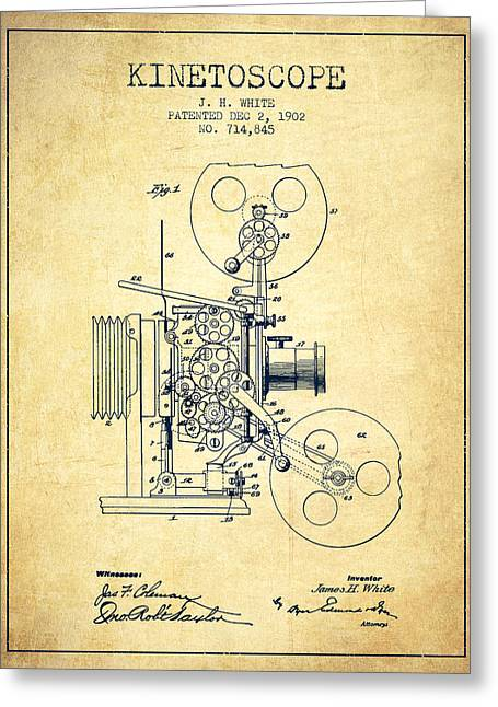 Exposure Drawings Greeting Cards - 1902 Kinetoscope Patent - Vintage Greeting Card by Aged Pixel