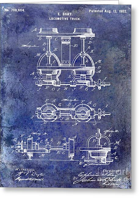 Railway Locomotive Greeting Cards - 1902 Locomotive Truck Patent Blue Greeting Card by Jon Neidert