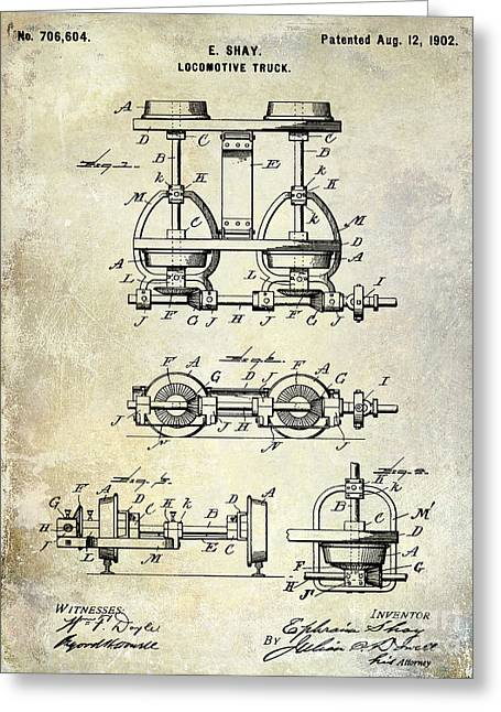 Railway Locomotive Greeting Cards - 1902 Locomotive Truck Patent  Greeting Card by Jon Neidert