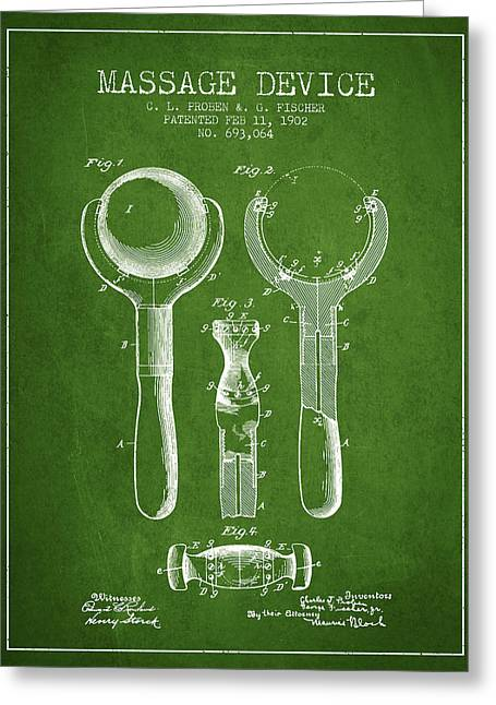 Treatment Greeting Cards - 1902 Massage Device patent - Green Greeting Card by Aged Pixel