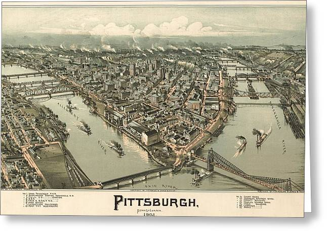 1902 Pittsburgh Map Greeting Card by Dan Sproul