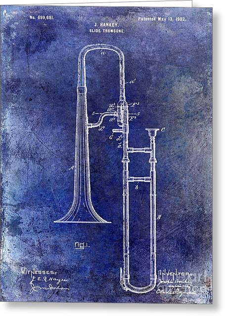 Marching Band Greeting Cards - 1902 Trombone Patent Blue Greeting Card by Jon Neidert