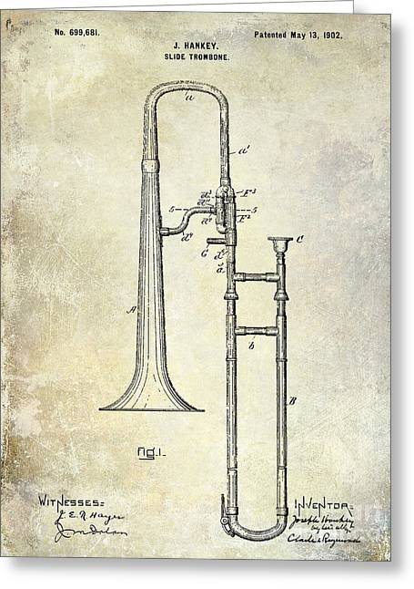 Marching Band Greeting Cards - 1902 Trombone Patent Greeting Card by Jon Neidert