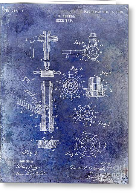 Stein Greeting Cards - 1903 Beer Tap Patent Blue Greeting Card by Jon Neidert
