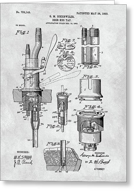 1903 Beer Tap Patent Greeting Card by Dan Sproul