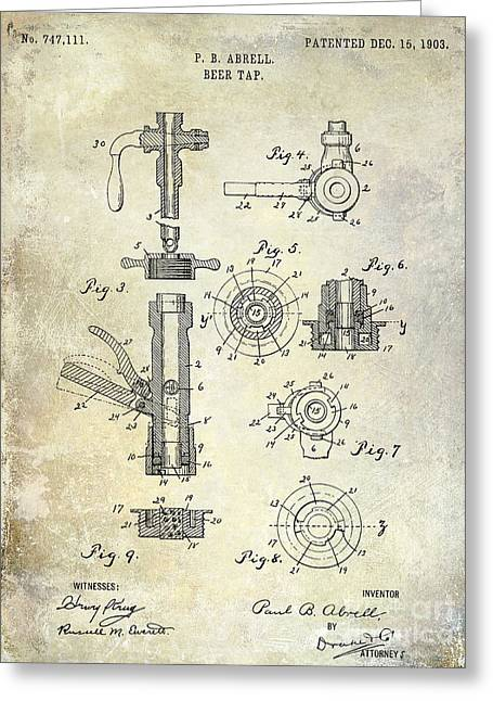 Stein Greeting Cards - 1903 Beer Tap Patent Greeting Card by Jon Neidert