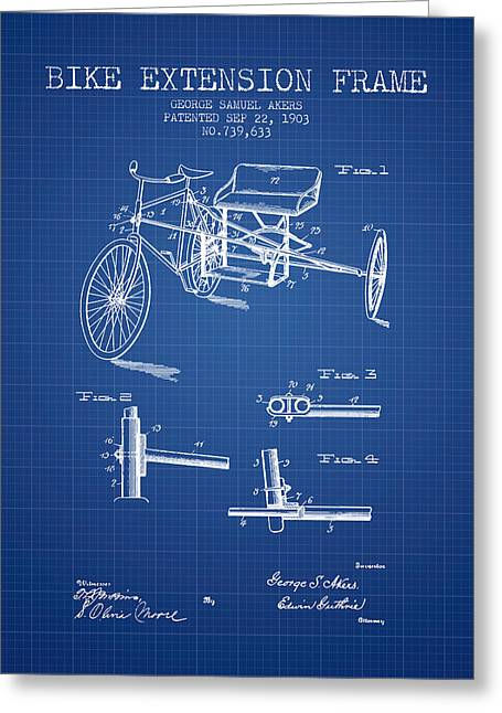 Bike Drawings Greeting Cards - 1903 Bike Extension Frame Patent - blueprint Greeting Card by Aged Pixel