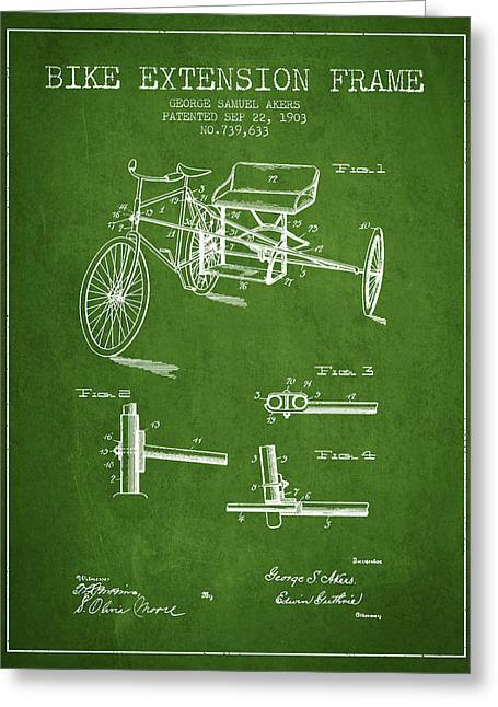 Bike Drawings Greeting Cards - 1903 Bike Extension Frame Patent - green Greeting Card by Aged Pixel