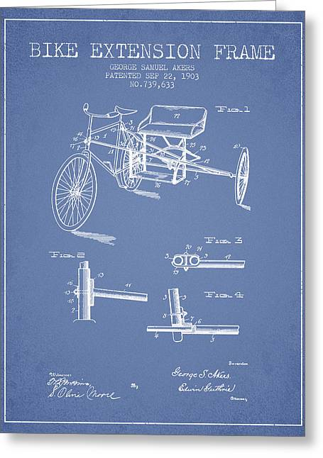 Bike Drawings Greeting Cards - 1903 Bike Extension Frame Patent - light blue Greeting Card by Aged Pixel