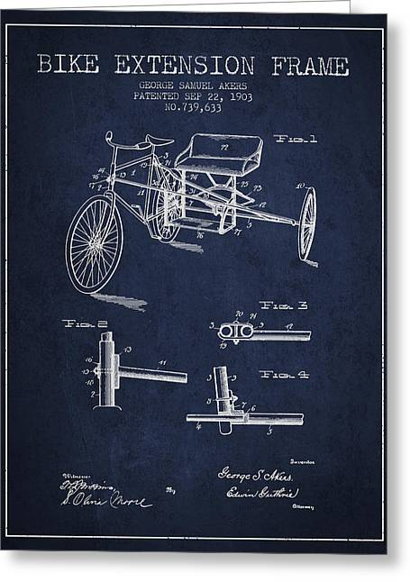 Bike Drawings Greeting Cards - 1903 Bike Extension Frame Patent - navy blue Greeting Card by Aged Pixel