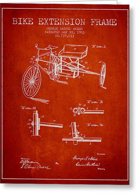 Bike Drawings Greeting Cards - 1903 Bike Extension Frame Patent - red Greeting Card by Aged Pixel
