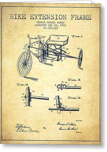 Bike Drawings Greeting Cards - 1903 Bike Extension Frame Patent - vintage Greeting Card by Aged Pixel