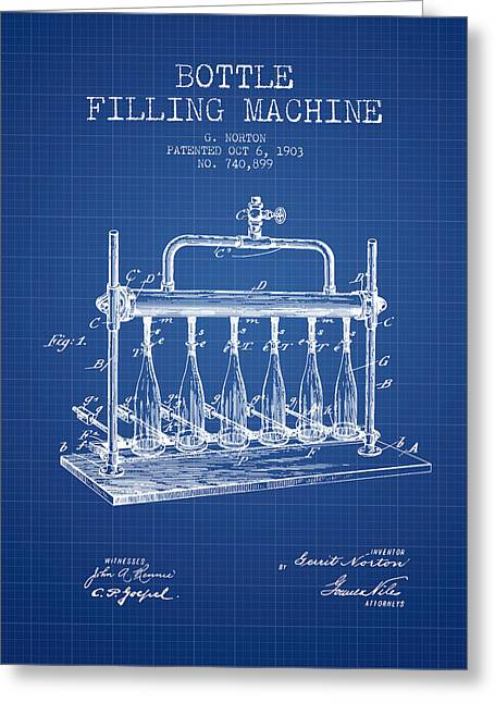Bottle. Bottling Drawings Greeting Cards - 1903 Bottle Filling Machine patent - blueprint Greeting Card by Aged Pixel