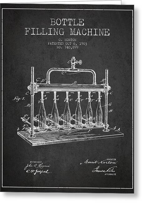 Bottle. Bottling Drawings Greeting Cards - 1903 Bottle Filling Machine patent - charcoal Greeting Card by Aged Pixel
